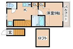 神戸市西神・山手線 上沢駅 徒歩3分の賃貸アパート 2階1Kの間取り