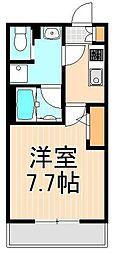 フュージョナル千住大橋 3階1Kの間取り