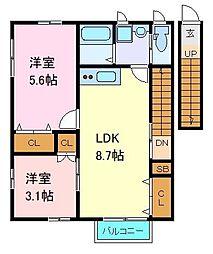 仙台市営南北線 北四番丁駅 徒歩7分の賃貸アパート 2階2LDKの間取り