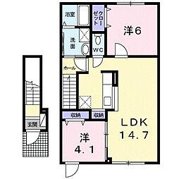 北海道札幌市北区屯田九条2丁目の賃貸アパートの間取り