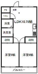 近鉄大阪線 榛原駅 徒歩6分の賃貸マンション 5階2LDKの間取り