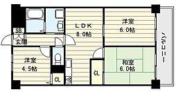 大阪府大阪市生野区巽中3丁目の賃貸マンションの間取り
