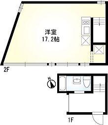 JR山手線 恵比寿駅 徒歩13分の賃貸マンション 2階1LDKの間取り