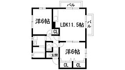 兵庫県宝塚市高松町の賃貸アパートの間取り