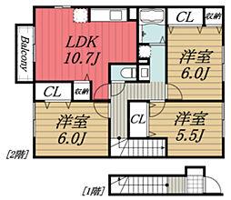 JR総武本線 成東駅 徒歩20分の賃貸アパート 2階3LDKの間取り