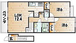 ファイン若松B棟[2階]の間取り