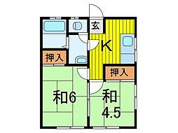 第二宮野荘[2階]の間取り