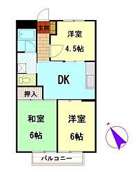 静岡県御殿場市塚原の賃貸アパートの間取り