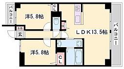 JR播但線 京口駅 徒歩8分の賃貸マンション 4階2LDKの間取り