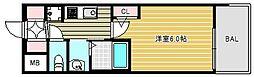 エステムコート難波ウエストサイドVIIグローブ 8階1Kの間取り