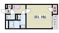 山陽電鉄本線 西新町駅 徒歩19分の賃貸アパート 2階1Kの間取り