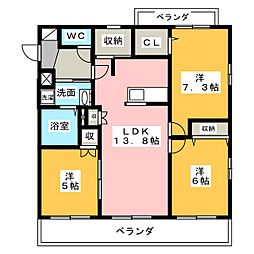 Blanc Court E(東)、W(西) 1階3LDKの間取り