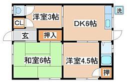 兵庫県神戸市須磨区妙法寺字界地の賃貸アパートの間取り