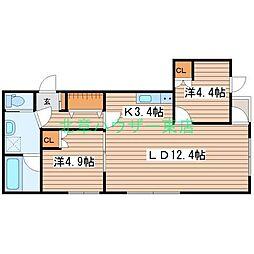 LUCY HOUSE ルーシーハウス 3階2LDKの間取り