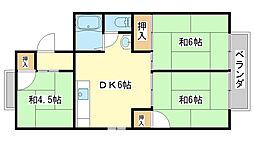 パレーシャル田寺[B202号室]の間取り