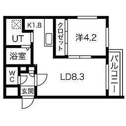 札幌市営東豊線 北13条東駅 徒歩3分の賃貸マンション 2階1DKの間取り