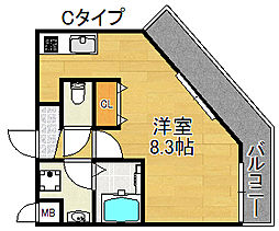 TOYOTOMI STAY PREMIUM 天王寺公園III 6階1Kの間取り