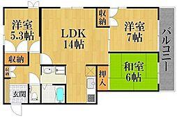 エクセル熊野1[2階]の間取り