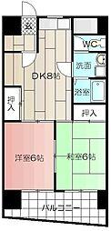 ハニーハイツ三萩野[601号室]の間取り