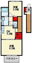 リヴェール引野[2階]の間取り