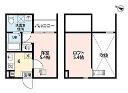 愛知県名古屋市南区城下町3丁目の賃貸アパートの間取り