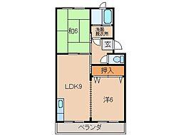 西浜コーポラス[3階]の間取り