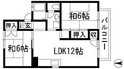 兵庫県伊丹市緑ケ丘2丁目の賃貸アパートの間取り