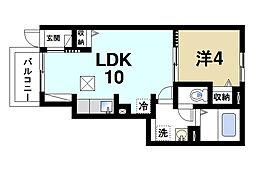 奈良県奈良市大安寺2丁目の賃貸アパートの間取り