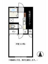 JR山陽本線 庭瀬駅 徒歩18分の賃貸アパート 1階1Kの間取り