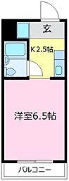 アーバン日吉 3階1Kの間取り