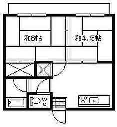 川畑アパート[201号室]の間取り