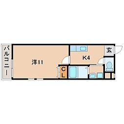 フジパレス市駅東V番館 1階1Kの間取り