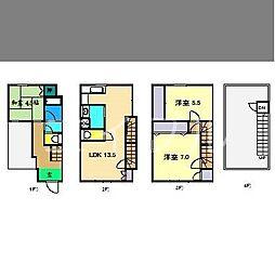 [一戸建] 高知県高知市二葉町 の賃貸【/】の間取り