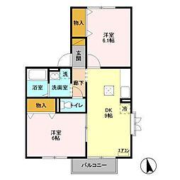 千葉県松戸市新松戸南2丁目の賃貸アパートの間取り