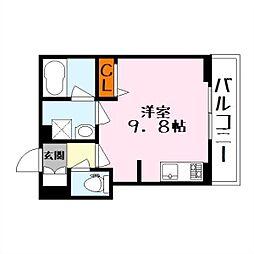 シャーメゾンsublime 2階ワンルームの間取り