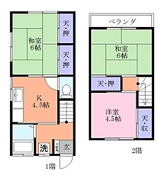 [テラスハウス] 千葉県習志野市実籾4丁目 の賃貸【/】の間取り