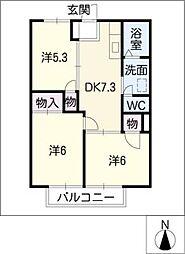 ラ・フォーレ西条B棟[1階]の間取り