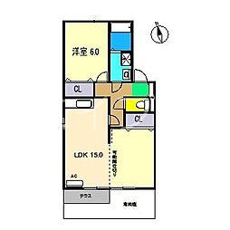 カーサoden[1階]の間取り
