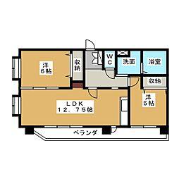 グレイスフルマンション舞松原[2階]の間取り