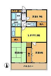 埼玉県さいたま市中央区下落合7丁目の賃貸マンションの間取り
