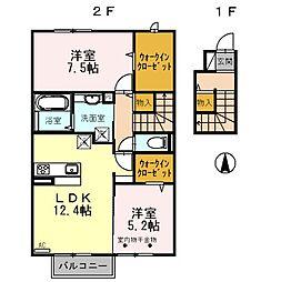 長野県長野市丹波島3丁目の賃貸アパートの間取り