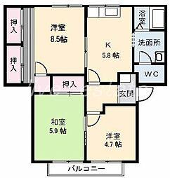 カサベルデII棟[1階]の間取り