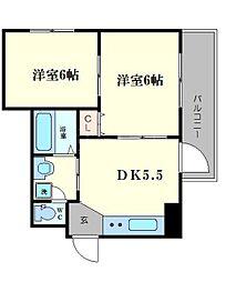 ドエル恵美須[8階]の間取り