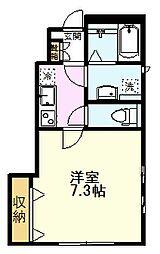 JR中央線 国分寺駅 徒歩7分の賃貸アパート 1階1Kの間取り