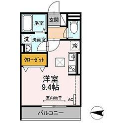 仮)D-room新川崎 1階ワンルームの間取り