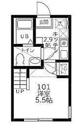 神奈川県相模原市南区相模台1の賃貸アパートの間取り