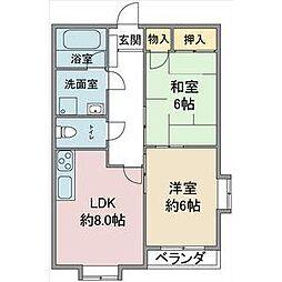 愛知県名古屋市守山区川東山の賃貸アパートの間取り
