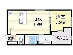札幌市電2系統 西線9条旭山公園通駅 徒歩4分の賃貸マンション 3階1LDKの間取り