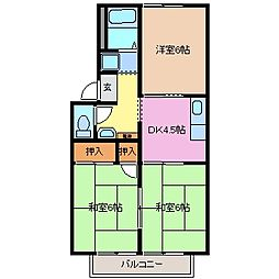 サニーパレス21 A棟[2階]の間取り