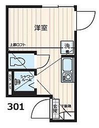 Nano北新宿2 2階ワンルームの間取り